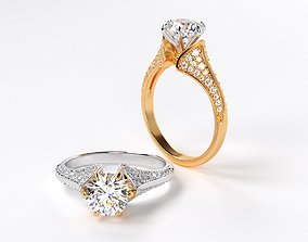 fashion engagement two tone ring with 7mm 3D print model 1