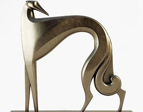 dog Sculpture grayhound art deco 3D model