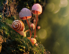 Snail with shell rigged 3D