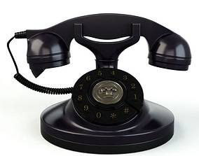 Black Rotary Dial Phone 3D