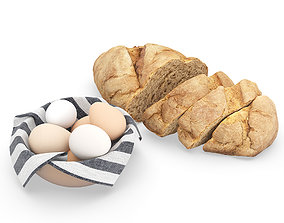 3D Bread with Bowl with Eggs and Towel