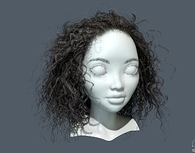 PBR Curly realtime hair 3D asset