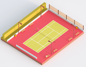 Low Poly Tennis Court 3D asset