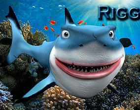 Cartoon blue shark 3D asset