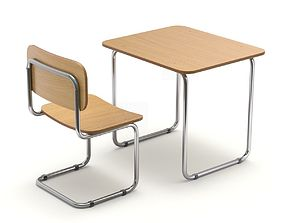 3D model School Desk and Chair
