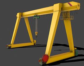 PBR Single Girder Gantry Crane V1 - YELLOW LIGHT 3D asset