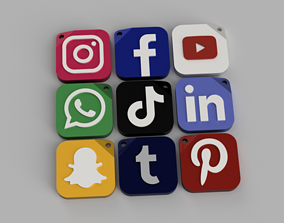 3D printable model STL Social media logo key ring trinket