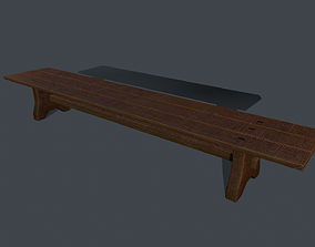 3D model Wooden Bench 3 Colors