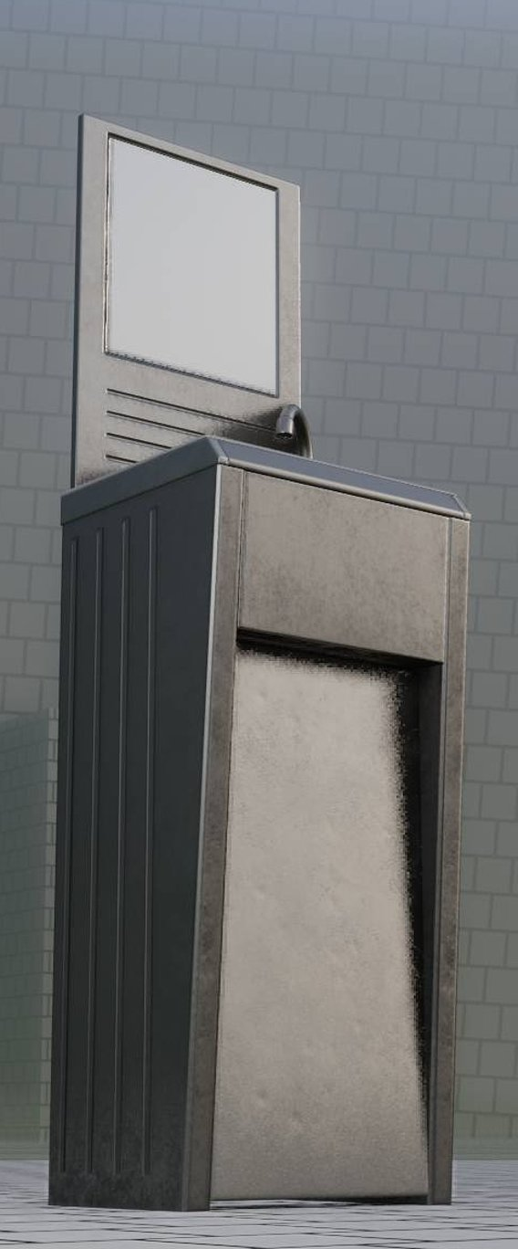 Public Metal Sink - 33 - with Mirror Low-Poly (Blender-2.92)