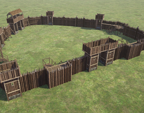 3D model Wooden Palisade Defenses Pack - 19