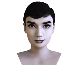 Audrey Hepburn black and white bust for full color 3D