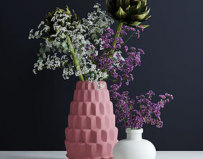 3D model Bouquets in pink and white vases