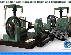 3D Steam Engine with Horizontal Beam and Centrifugal Pump