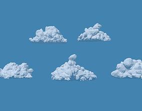 3D lowpoly Low Poly Cumulonimbus Clouds Pack 1