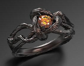 Oak heart ring 3D print model