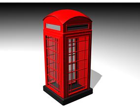 London Telephone Booth uk 3D model