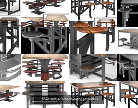 Tables With Attached Seating 3D model