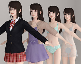 T pose nonrigged model of Aoi with various