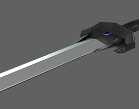 3D asset Low Poly Gladius Fantasy Blue Stones Dark Ebony