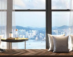 window seat bay window bedroom daylight interior 3D model