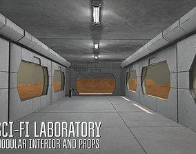 3D model Sci-fi laboratory - modular interior and props