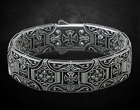 Stylish bracelet in silver with a cross 265 3D print model