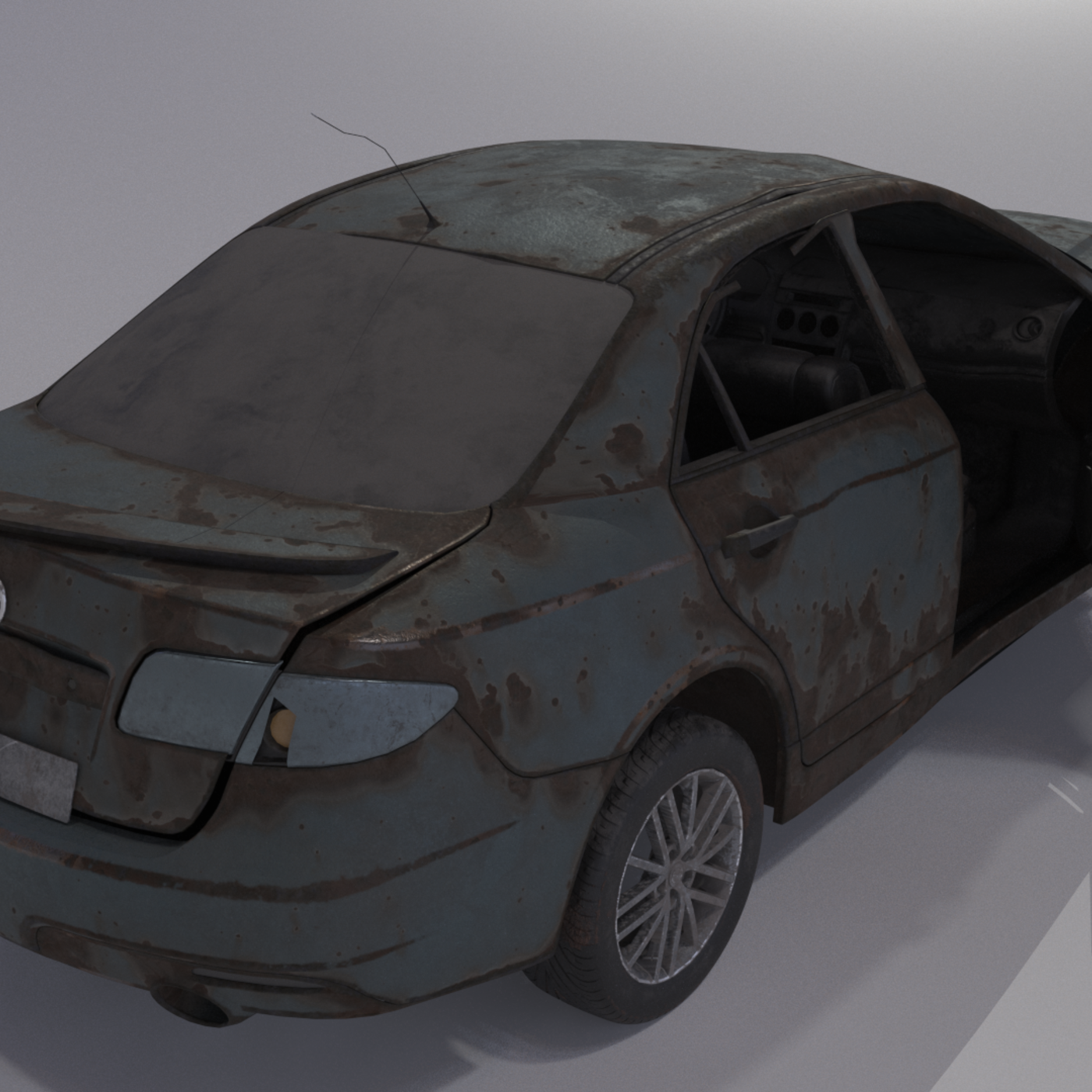 Wrecked destroyed Car