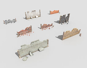 8 broken walls pack 3D model