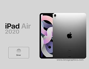 Silver 2020 iPad Air 11 inch 3D model electronics