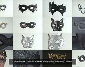 Carnival Mask Collection 7 pieces Masquerade 3D model