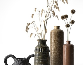 3D Vases with Plants 3
