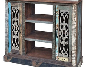 3D model Iron Grill Wooden Cabinet