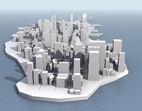 low-poly New York City Manhattan 3D Model