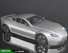 Low-Poly Car Racing Aston Martin V8 Vantage game-ready 2
