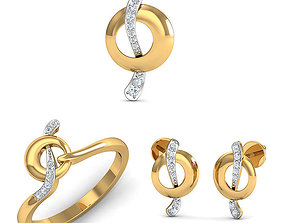 Rhino 3D CAD File Jewelry Set Ring Pendant Earring 3D