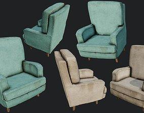 Old Linen Armchair PBR 3D model