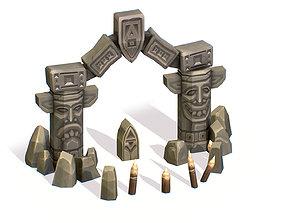 Handpaint Cartoon Stone Arch Entrance 3D model