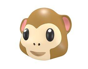 3D asset low-poly Monkey Face