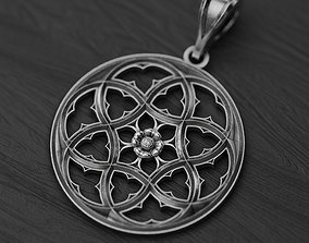 3D print model Gothic window rose necklace