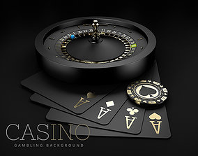 Black Casino Roulette Wheel with a blue ball 3D model 2