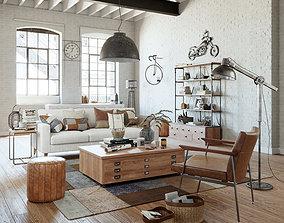 Industrial Living Interior scene 3D model