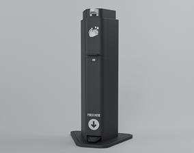 Hand Sanitizer Stand Black Steel 3D