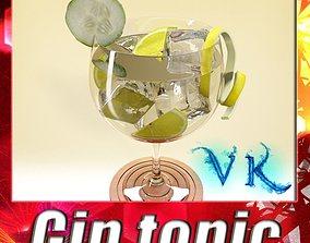 3D High Detailed Liquor Glass - Gin tonic