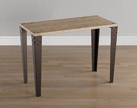 3D asset WOOD METAL TABLE