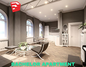 Bachelor Studio Apartment Scene - SketchUp 3D