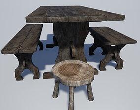 Medieval Kitchen Furniture Set 3D model