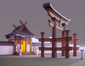 3D model Oriental Walls and Gates Low Poly Asset