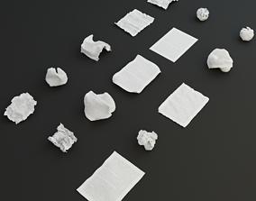 3D asset 15 crumpled paper set