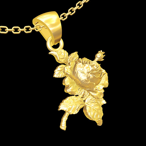 Rose Flower pendant jewelry gold necklace 3D print model