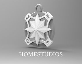 PENDANT COMPASS LIGHT TWO PARTS 3D print model